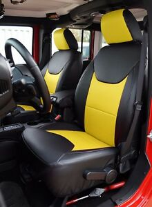 Jeep Wrangler 2013 2016 Black Yellow S Leather Custom Made Fit Front Seat Cover