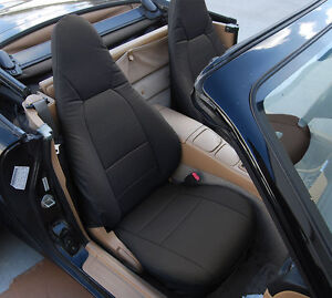 Mazda Miata 2001 2005 Black S Leather Custom Made Fit Front Seat Cover