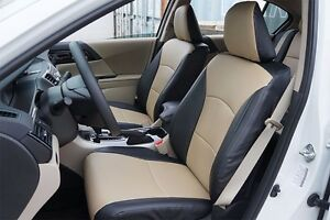 Honda Accord 2013 2016 Black Beige S Leather Custom Made Fit Front Seat Cover