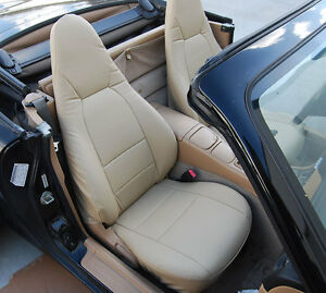 Mazda Miata 2001 2005 Beige S Leather Custom Made Fit Front Seat Cover