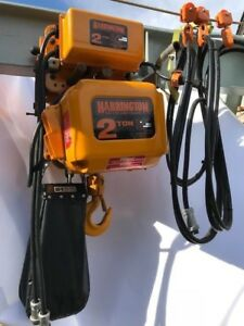Harrington 2 Ton Electric Chain Hoist 10 Lift Ner020l W Trolley Mr020l