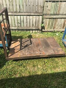 Vintage Industrial Cart With Steel And Rubber Casters Steel And Wood Deck