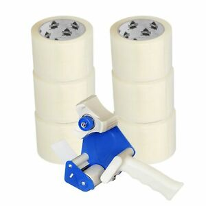 Free Dispenser With 6 Rolls Of Clear Packaging Tape 3 X 110 Yards 330 Ft
