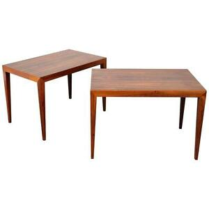 Pair Danish Modern Rosewood Side Tables Mid Century Nightstands Severin Hansen