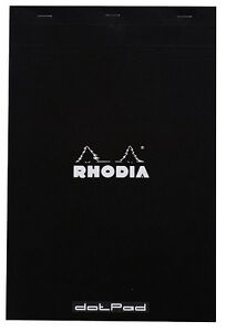 Rhodia Classic Notepad Dotpad Top Staplebound 8 1 4 X 12 1 2 Grid Black 80 Sheet