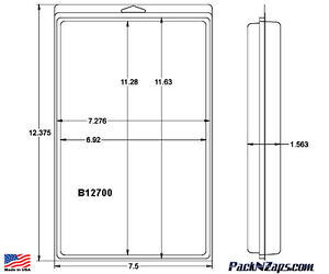 B12700 60 12 4 h X 7 5 w X 1 563 th Clamshell Packaging Clear Plastic Pack