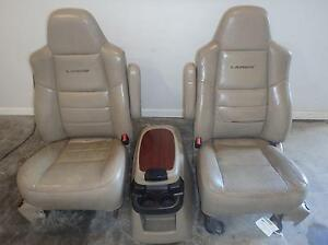 99 07 Ford F250 F350 Super Duty Tan Leather Lariat Seats Power Heated W Console