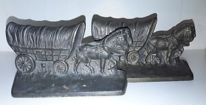 Vintage Hubley Cast Iron Stage Coach Bookends Doorstops