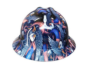 Hydrographic Eagle Flag Msa V guard Full Brim Hard Hat