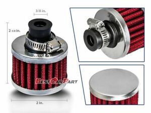 Red Universal Crankcase Air Breather Filter 3 8 Inch 10mm Inlet For Engine