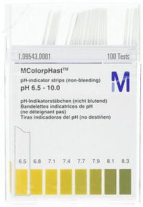 Lot 5 100 Emd Millipore Mcolorphast Non bleeding Ph indicator Strips 6 5 10 0