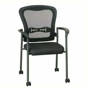 Scranton Co Visitors Chair With Casters In Black And Titanium