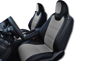 Chevy Camaro 2010 2015 Black Grey Iggee S Leather Custom Fit Front Seat Cover