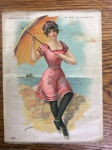 Vintage Antique Promo Silk Use In Crazy Quilt Bathing Beauty Cape May