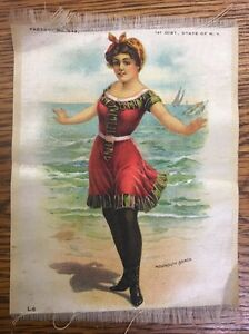 Vintage Antique Promo Silk Use In Crazy Quilt Bathing Beauty Monmouth Beach