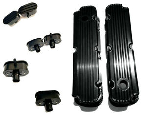 Sb Ford Raised Finned Fabricated Black Aluminum Tall Valve Covers Breather Pcv