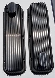 Big Block Chevy Tall Black Finned Valve Covers Aluminum 454 Breather