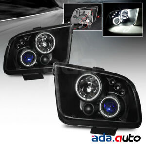 Fits 2005 2009 Ford Mustang Projector ccfl Halo Black Headlights Pair