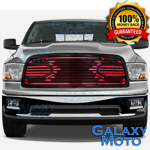 09 12 Dodge Ram 1500 Front Hood Big Horn Black Red Replacement Grille Shell