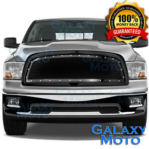 Black Mesh Grille Rivet Replacement Shell For 09 12 Dodge Ram Truck 1500