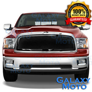 09 12 Dodge Ram Truck 1500 Front Hood Black Mesh Grille Replacement Chrome Shell