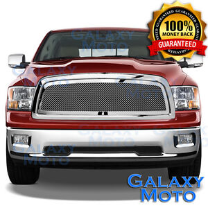 Chrome Mesh Grille replacement Grill Shell For 09 12 Dodge Ram Truck 1500