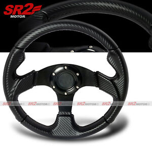 Universal Carbon Looks 320mm Pvc Leather Racing Steering Wheel With Horn Jdm
