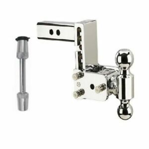 B W Hitches Adjustable Chrome Dual Ball Mount 5 8 Receiver Hitch Lock