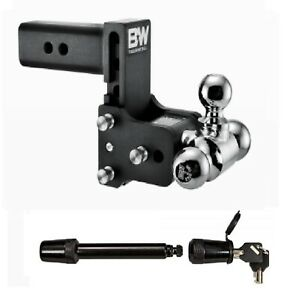 B W Hitches Adjustable Tri Ball Hitch Mount 5 8 Receiver Hitch Lock