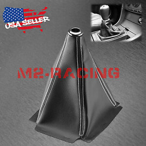 Shift Knob Shifter Boot Cover Black W White Stitches Pvc Leather Mt At Sport