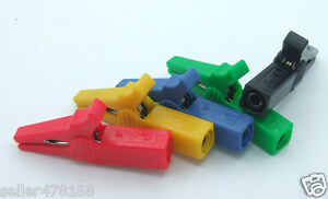100pcs 55mm Alligator Clip For 4mm Banana Plug Multimeter Probes Cables 5 Color