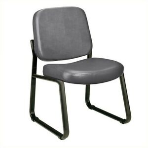 Ofm Armless Vinyl Reception Chair In Charcoal