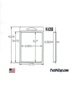 K4358 875 4 h X 3 w X 0 362 d Clamshell Packaging Clear Plastic Blister Pack