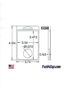 K4346 975 4 h X 3 w X 0 162 d Clamshell Packaging Clear Plastic Blister Pack