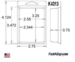 K4313 975 4 h X 3 w X 0 75 d Clamshell Packaging Clear Plastic Blister Pack