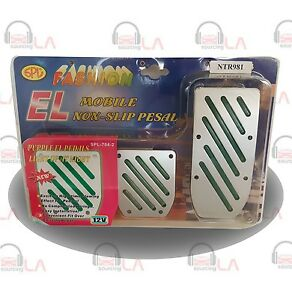 Sport Pedal Pads 3pc Silver slotted Green Lines lighted Ntr981