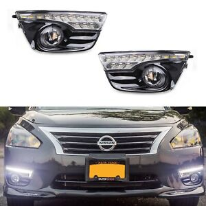 Switchback Led Daytime Running Lights W Clear Fog Lamps Kit For Nissan Altima