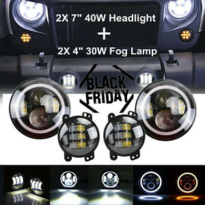 Pair 7 Led Halo Headlights 4inch Fog Light Drl Kit For Ford Wrangler Jk Lj Tj