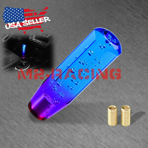 Shift Knob Stick Crystal Transparent Bubble Purple Blue Throw Gear Shifter 15cm