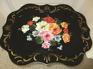 Beautiful Large Hand Painted Floral Antique Chippendale Black Tole Wall Tray