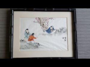 Collection Of 3 Framed Antique Chinese Watercolor On Silk Originals 16 X20