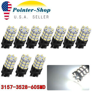 10x White 3157 60smd Led Light Bulbs Daytime Running Tail Brake 3156 4114 3157a