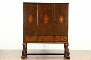 Carved 1910 Antique China Bar Or Library Cabinet With Marquetry