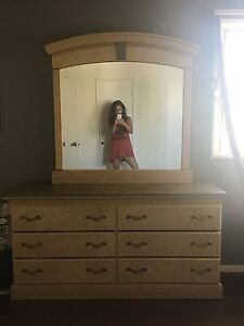 Vintage Dresser With Large Mirror And Side Table Marble Tops Victorian Flare