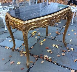 Beautiful Antique French Style Carved Gold Gilt Marble Top Parlor Table
