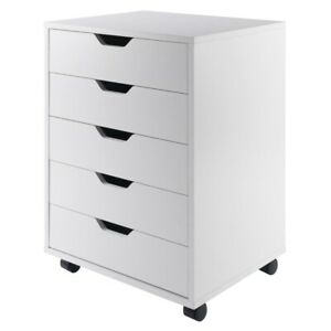 Filing Cabinet File Storage 5 Drawer Wood Mobile Wood Mobile Vertical In White