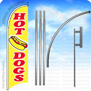 Hot Dogs Windless Swooper Flag 15 Kit Feather Banner Sign Yb
