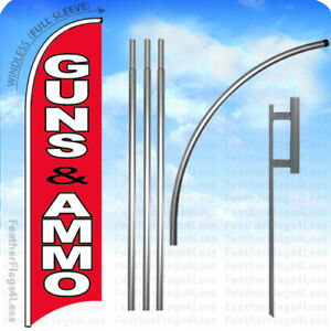 Guns Ammo Windless Swooper Flag 15 Kit Feather Banner Sign Rb
