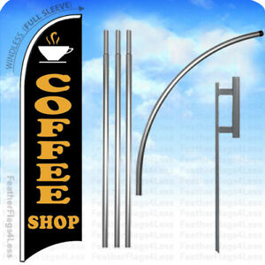Coffee Shop Windless Swooper Flag 15 Kit Feather Banner Sign Kb
