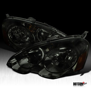 For 2002 2004 Acura Rsx Dc5 Smoke Lens Tinted Headlights Head Lamps Left Right